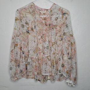 Lucky Brand Floral ruffle hem blouse
